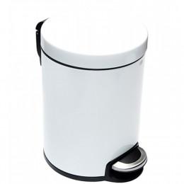 Binele Lux Ведро для мусора с педалью 12 литров белая эмалированная сталь