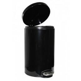 Binele Lux Ведро для мусора с педалью 12 литров черная эмалированная сталь