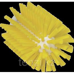 Щетка-ерш для очистки труб, гибкая ручка, диаметр 77 мм, средний ворс, желтый цвет
