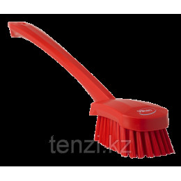 Щетка для мытья с длинной ручкой, 415 мм, средний ворс, красный цвет