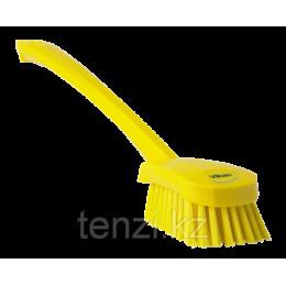 Щетка для мытья с длинной ручкой, 415 мм, средний ворс, желтый цвет