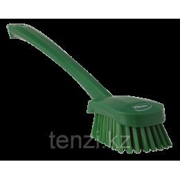 Щетка для мытья с длинной ручкой, 415 мм, Жесткий ворс, зеленый цвет