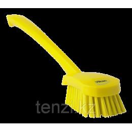 Щетка для мытья с длинной ручкой, 415 мм, Жесткий ворс, желтый цвет