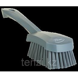 Щетка для мытья с короткой ручкой, 270 мм, Жесткий ворс, серый цвет