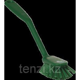 Щетка для мытья посуды со скребком, 280 мм, средний ворс, зеленый цвет