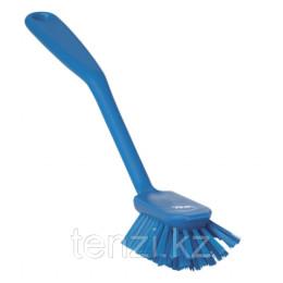 Щетка для мытья посуды со скребком, 280 мм, средний ворс, синий цвет
