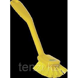 Щетка для мытья посуды со скребком, 280 мм, средний ворс, желтый цвет