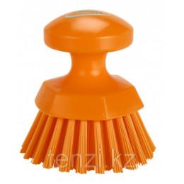 Щетка ручная круглая жесткая, Ø110 мм, Жесткий ворс, оранжевый цвет