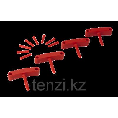 Крючок 4 шт. к настенным креплениям арт. 1017 и 1018, 140 мм, красный цвет
