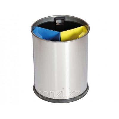 Probbax Корзина для отходов с подразделениями 13л  цвет стали