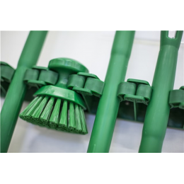 Щетка ручная круглая жесткая, Ø110 мм, Жесткий ворс, зеленый цвет