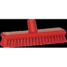 Щетка скребковая поломойная с подачей воды, 270 мм, средний ворс, красный цвет