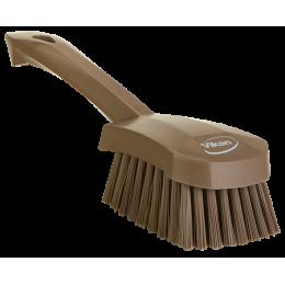 Щетка для мытья с короткой ручкой, 270 мм, Жесткий ворс, коричневый цвет