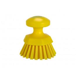 Щетка ручная круглая жесткая, Ø110 мм, Жесткий ворс, желтый цвет